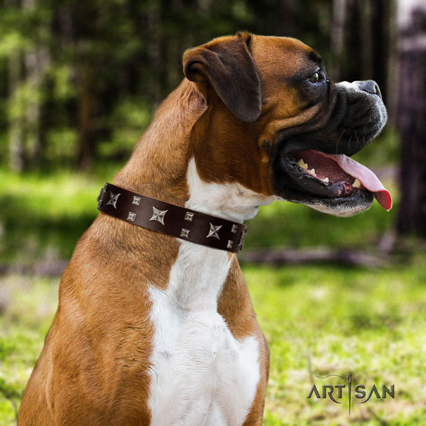 Boxer handcrafted full grain natural leather dog collar for comfortable wearing