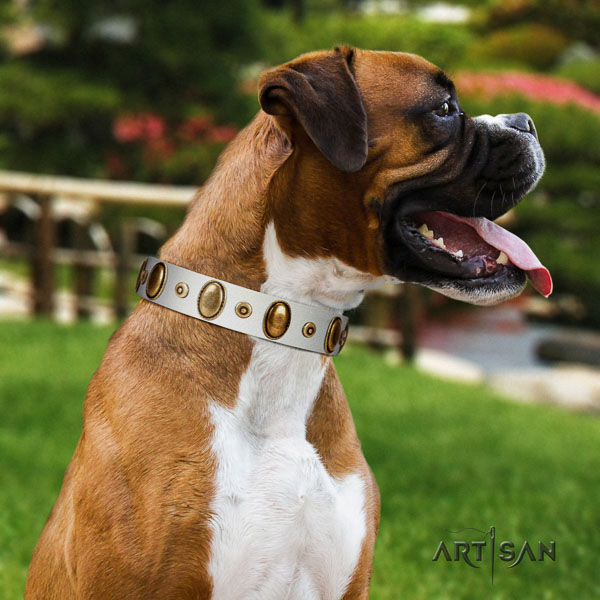 Boxer top quality full grain genuine leather dog collar for comfy wearing