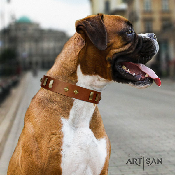 Boxer adorned full grain natural leather dog collar for easy wearing
