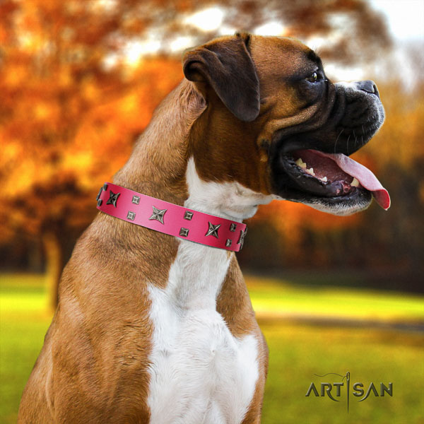 Boxer stylish design genuine leather dog collar for walking