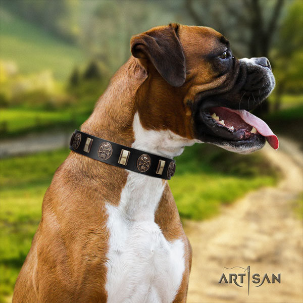 Boxer exquisite natural genuine leather dog collar for stylish walking