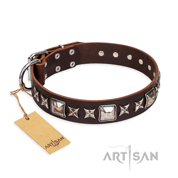 Awesome full grain leather dog collar for handy use