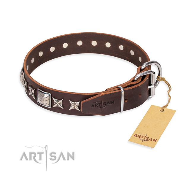Handy use full grain natural leather collar with studs for your four-legged friend