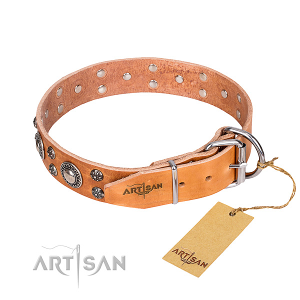 Handy use genuine leather collar with studs for your pet