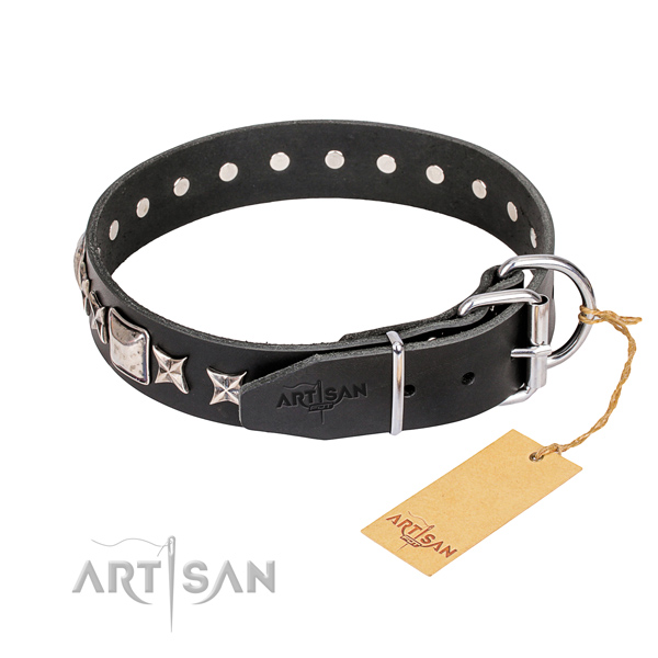 Daily use genuine leather collar with decorations for your doggie