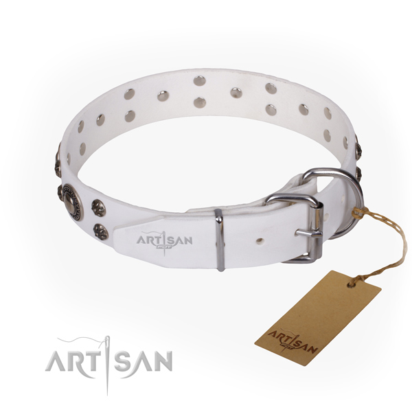 Handy use natural genuine leather collar with adornments for your canine