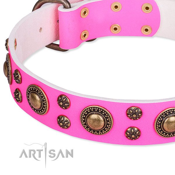 Natural genuine leather dog collar with unique adornments