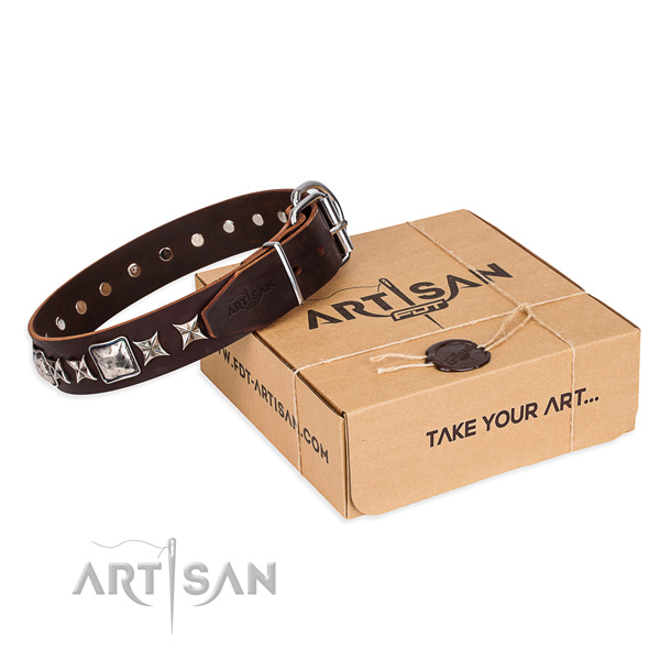 Decorated full grain genuine leather dog collar for daily walking