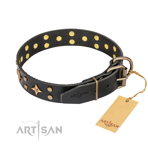 Stylish walking genuine leather collar with decorations for your canine