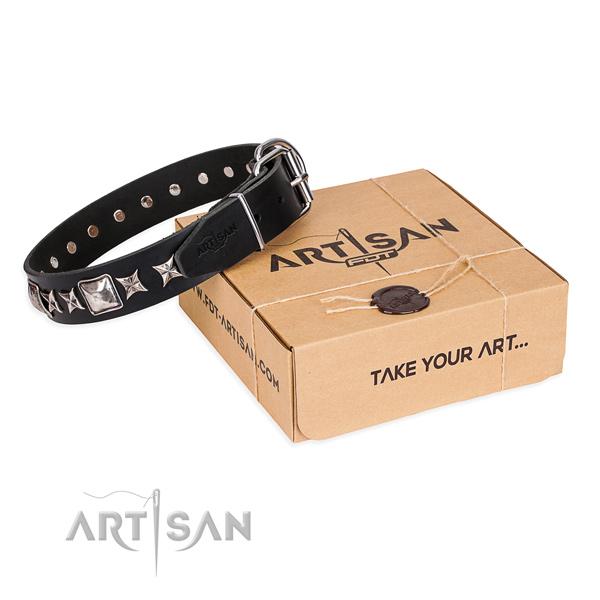 Adorned genuine leather dog collar for walking