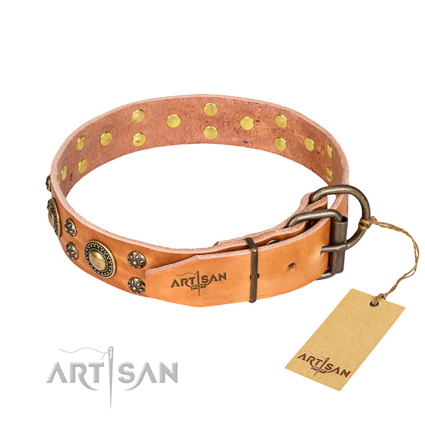 Stylish walking full grain leather collar with decorations for your pet
