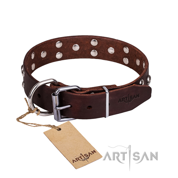 Leather dog collar with worked out edges for convenient everyday appliance