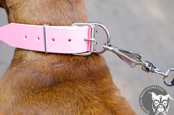 Pink leather Boxer collar with nickel plated buckle