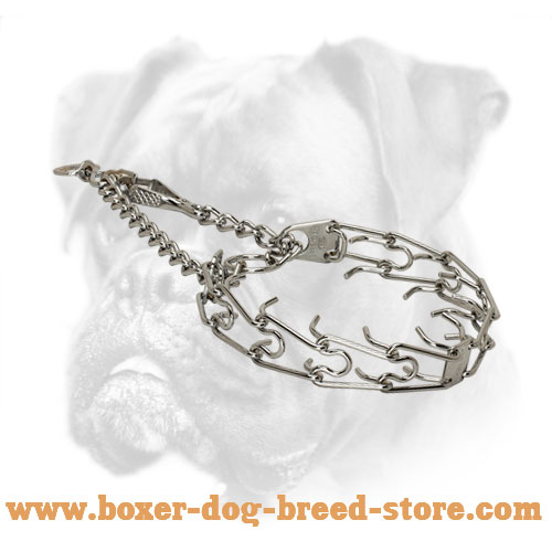 Chrome-Plated Boxer Pinch Collar with Swivel