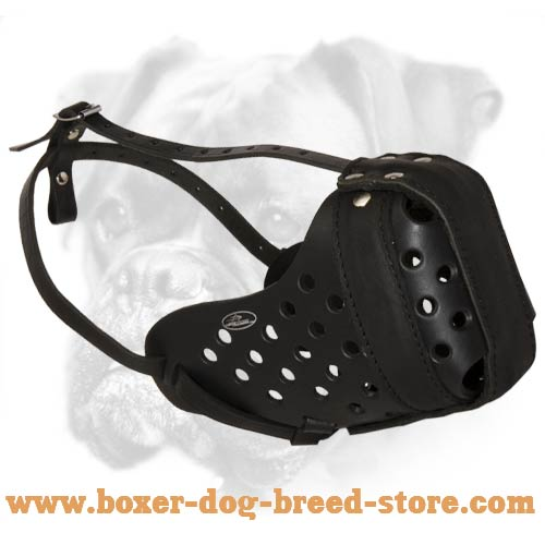 Super Strong Agitation/Attack Training Leather Boxer Muzzle