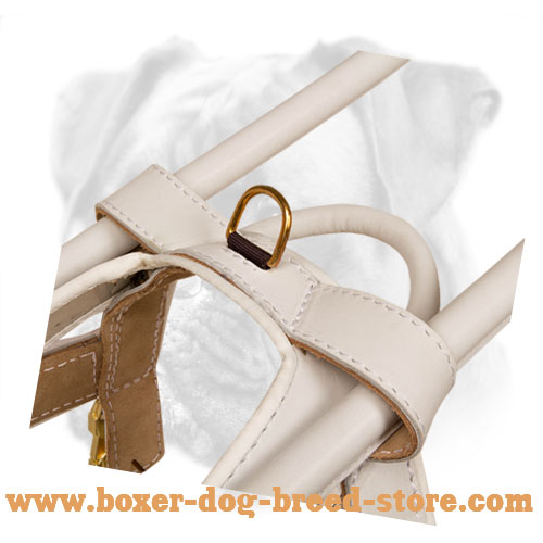 """Easy Walking"" Noble-White Leather Boxer Guide Harness"