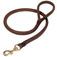 Natural Rolled Leather Dog Leash 3/4 inch for Boxer