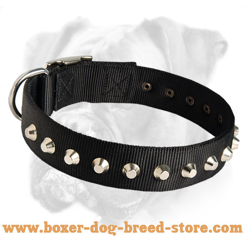 Gorgeous Wide Nylon Dog Collar with Silver Pyramids