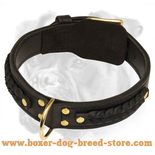 Gorgeous Braided Super Wide Leather Boxer Collar