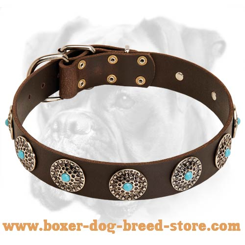 Boxer Leather Dog Collar with Curved Circles and Blue Stones