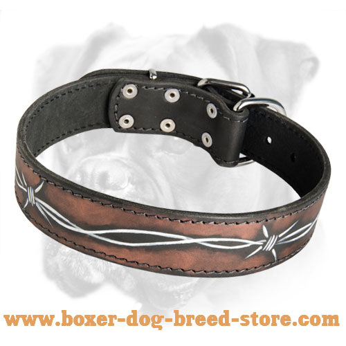 Fabulous Leather Boxer Collar - Barbed Wire