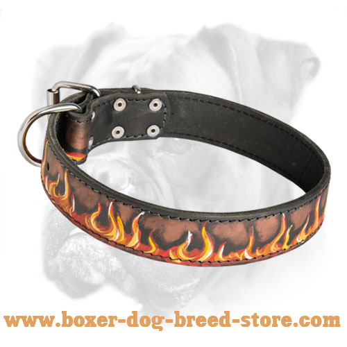 Incredible Leather Boxer Collar with Hand-Painted Burning Flames