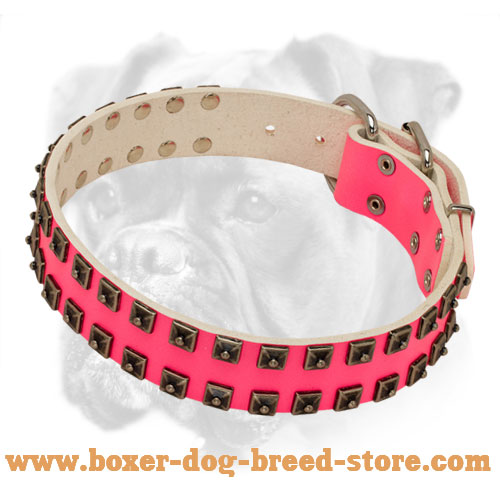 Royal Quality Pink Leather Boxer Collar for Walking and Training