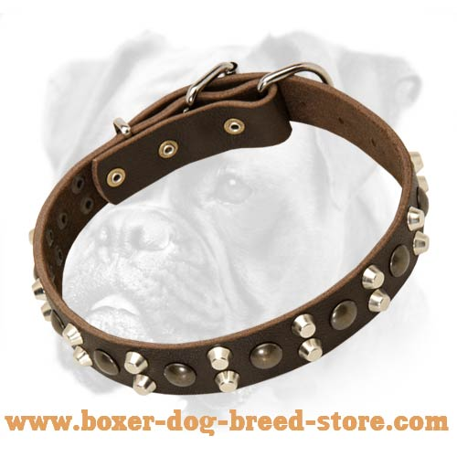 Leather Dog Collars with Studs and Pyramids for Boxer