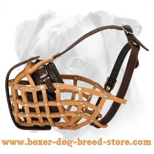 Leather Basket Dog Muzzle for Boxer