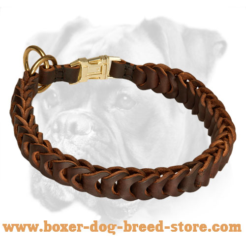 Designer Braided Leather Boxer Choke Collar with Quick Release Buckle