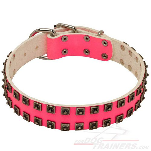 Exclusive Pink Leather Boxer Collar with Two Rows of Nickel Studs