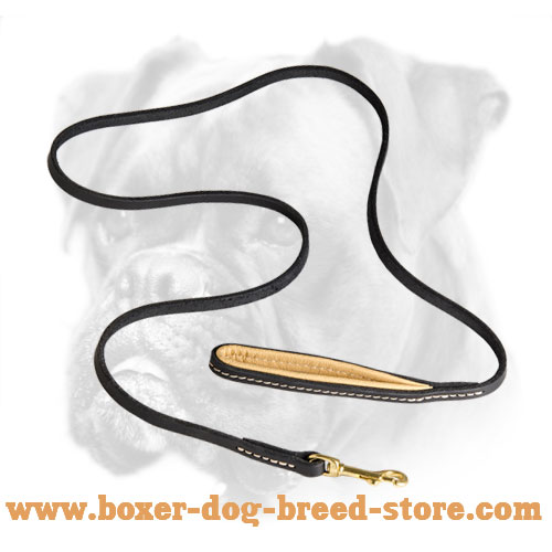 Royal Quality Leather Boxer Leash with Nappa Padded Handle
