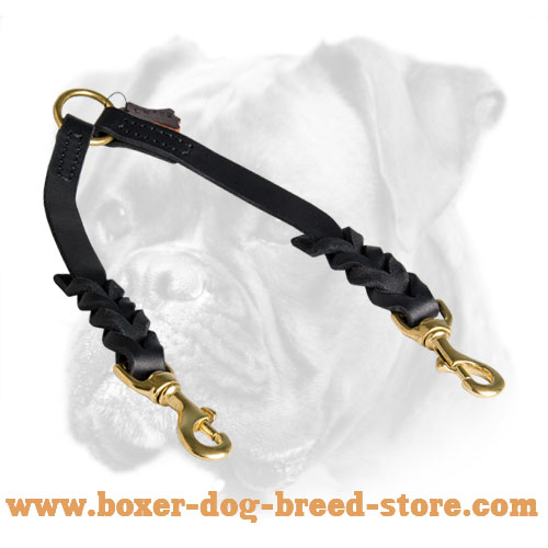 Leather Braided Boxer Leash for Walking Two Dogs