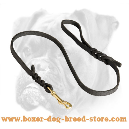 Handcrafted Braided Leather Leash for Boxer