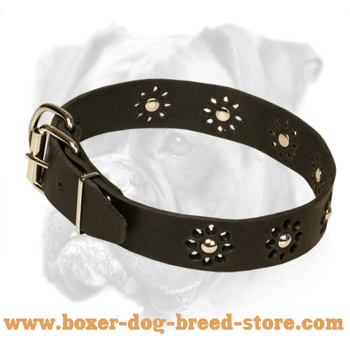 """Flower Blues"" Boxer Leather Dog Collar"