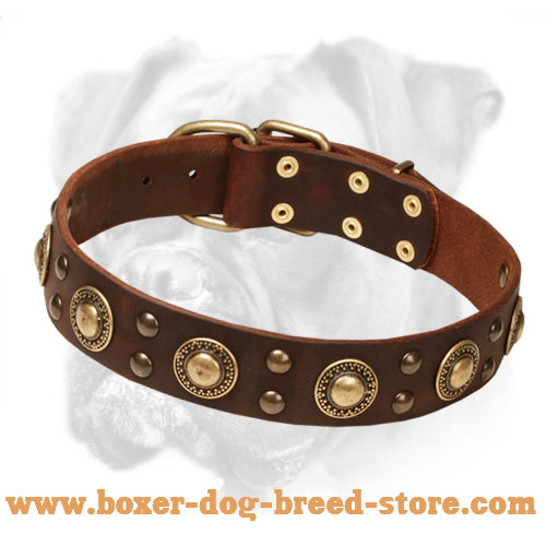 """Space-like"" Leather Boxer Collar Stud Decoration"
