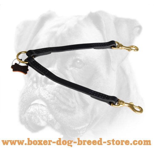 Leather Boxer Coupler for Comfortable Walking with Two Dogs