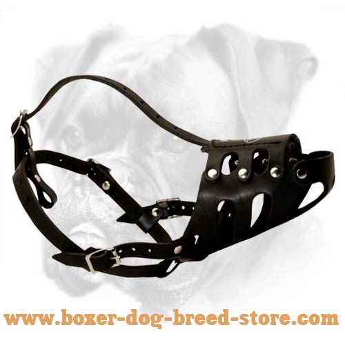 Anti-Barking Leather Boxer Muzzle
