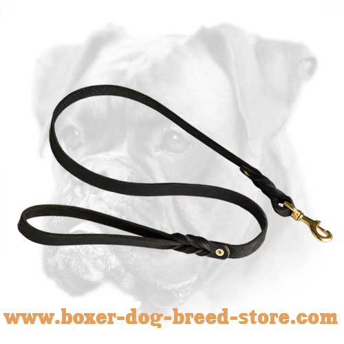 Super Strong Braided Leather Leash for Boxer