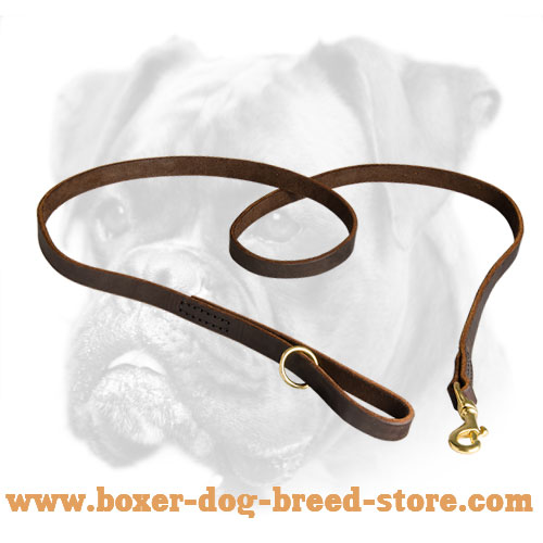 Soft Leather Boxer Leash for Everyday Use
