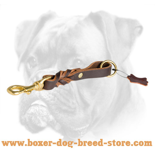 Extra Short Leather Braided Leash for Boxer - Click Image to Close