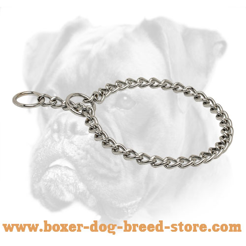 Chrome Plated Choke Boxer Collar for Training and Behavior Correction - 1/8 inch (3,5 mm)