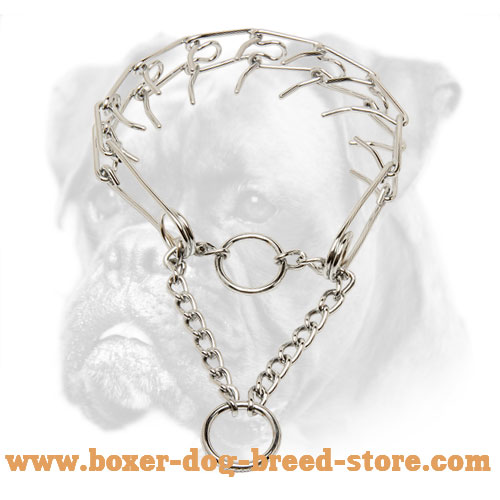 """Like a Mama's Pinch"" Chrome Plated Boxer Pinch Collar - 1/10 inch (2.3 mm)"