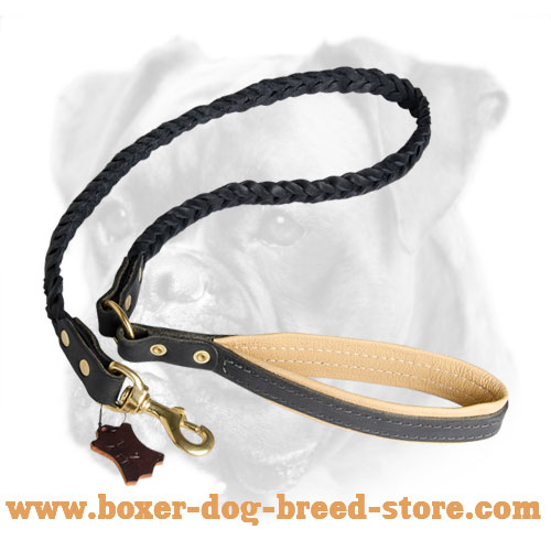 Natural Braided Leather Dog Leash for Boxer