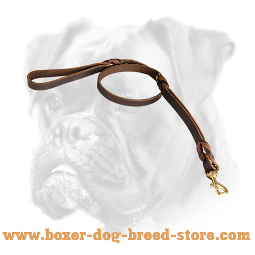 Boxer Leather Leash with Brass Snap Hook