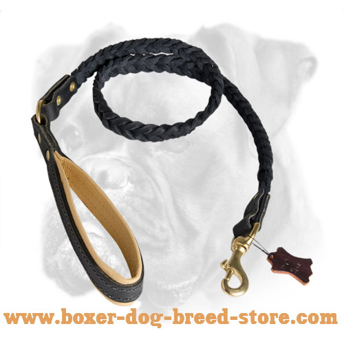 Braided Leather Leash 48 inch for Boxer