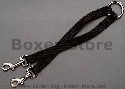 Nylon Coupler Leash for 2 Boxers