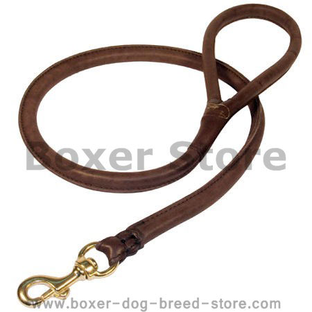 Natural Rolled Leather Dog Leash for Boxer