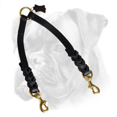 Leather Boxer coupler for walking 2 dogs