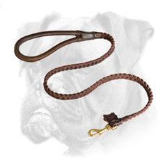 Quality leather leash for Boxer with brass snap hook
